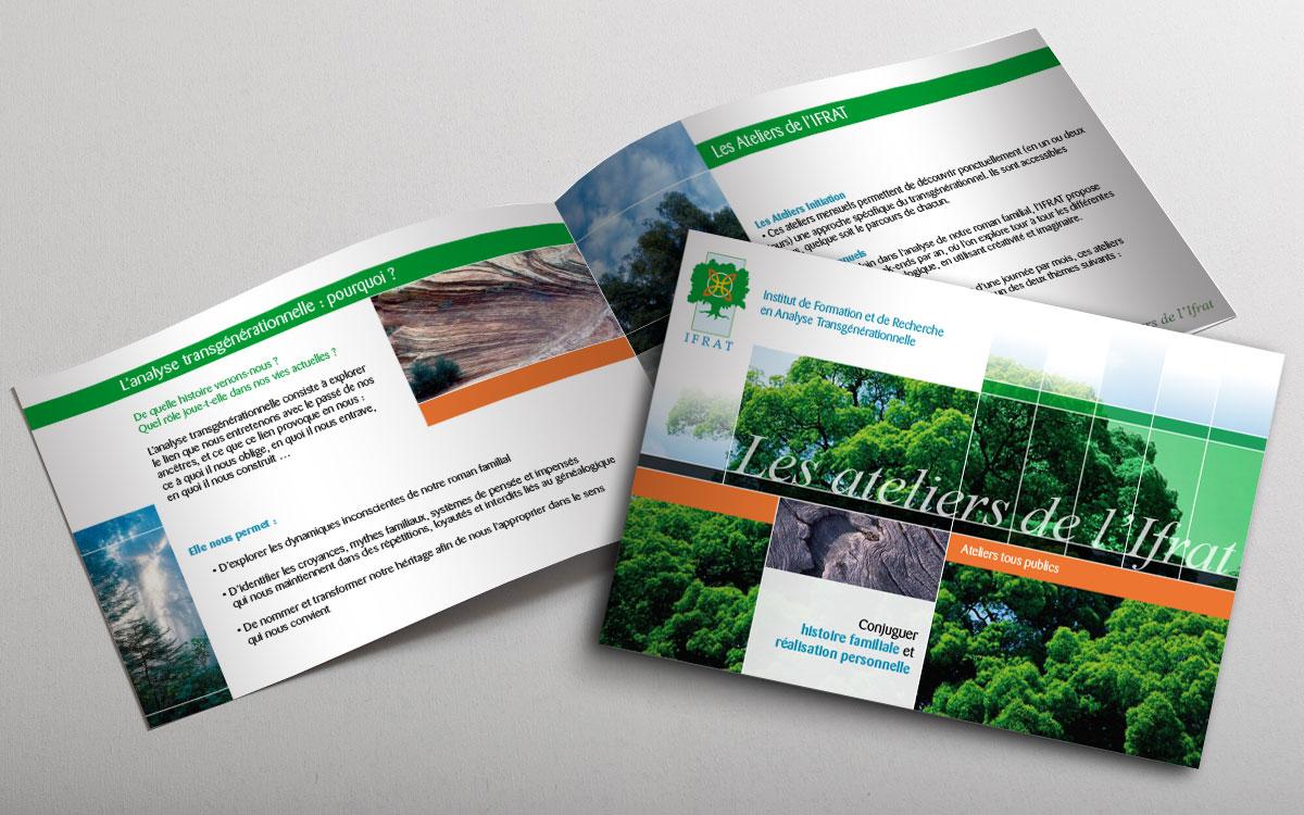Infographiste indépendant, création et mise en page de plaquettes commerciales dépliant 2 volets ateliers de développement personnel