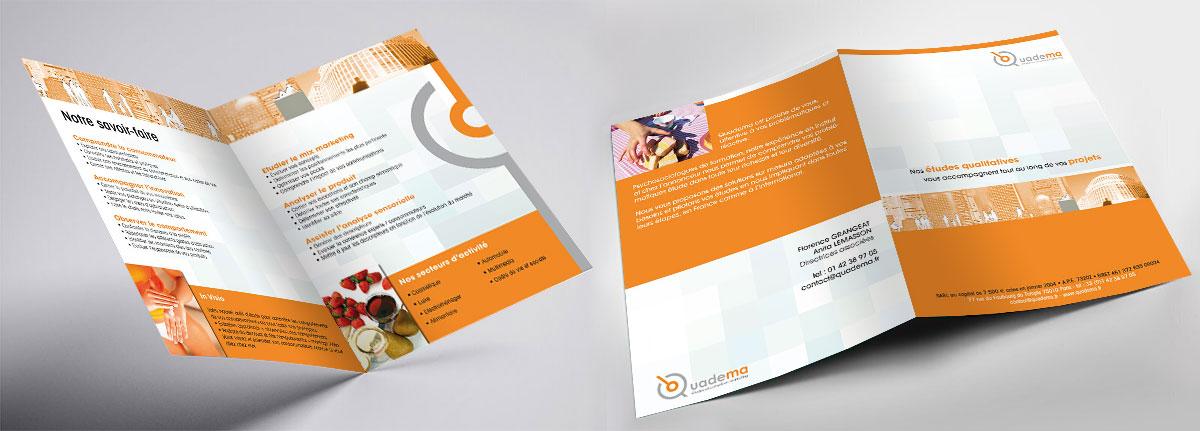 Infographiste indépendant, création et mise en page de plaquettes commerciales dépliant 2 volets études
