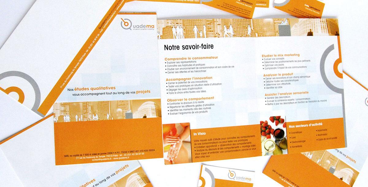 Infographiste indépendant, création et mise en page de plaquettes commerciales dépliant 2 volets études qualitatives