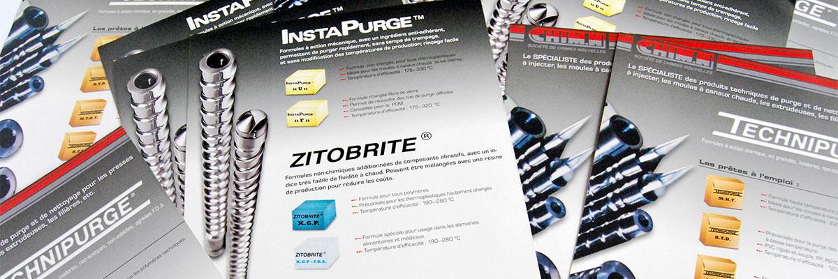 Infographiste indépendant, création et mise en page de plaquettes commerciales dépliant 2 volets, extrusion