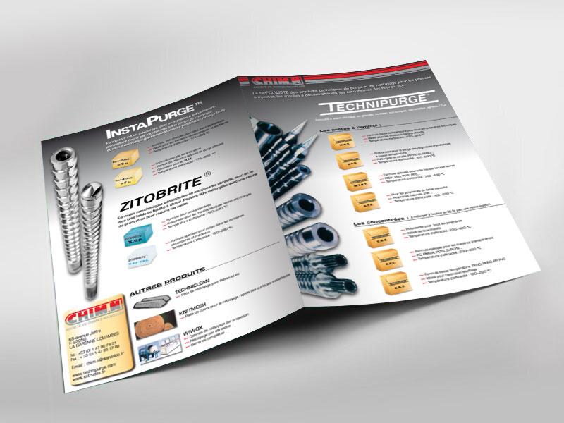 Infographiste indépendant, création et mise en page de plaquettes commerciales dépliant 2 volets, produits techniques