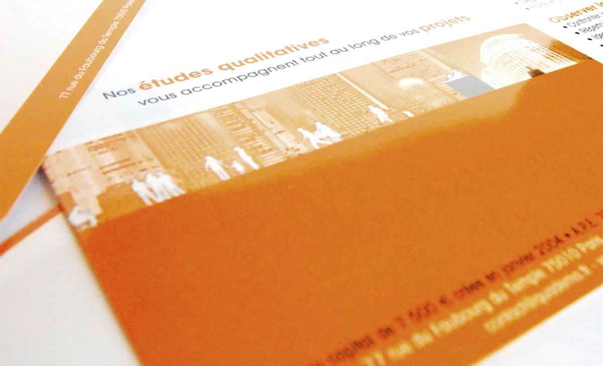 Infographiste indépendant, création et mise en page de plaquettes commerciales dépliant 2 volets projets qualitatifs
