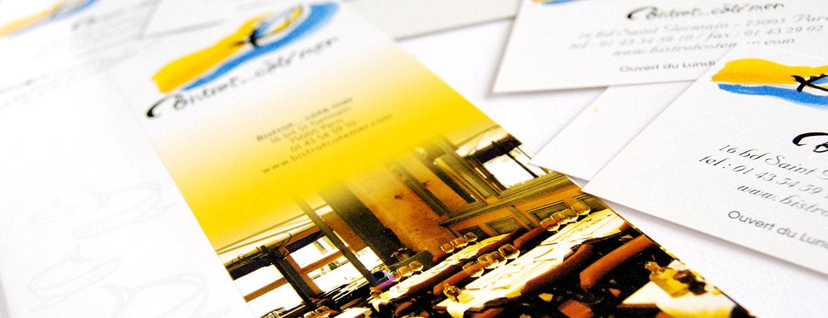 Infographiste indépendant, création et mise en page de plaquettes commerciales dépliant 2 volets, restaurant