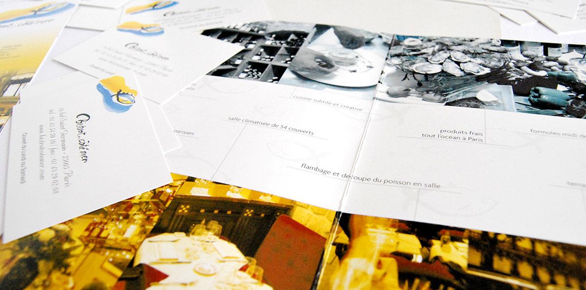 Infographiste indépendant, création et mise en page de plaquettes commerciales dépliant 2 volets, carte de restaurant