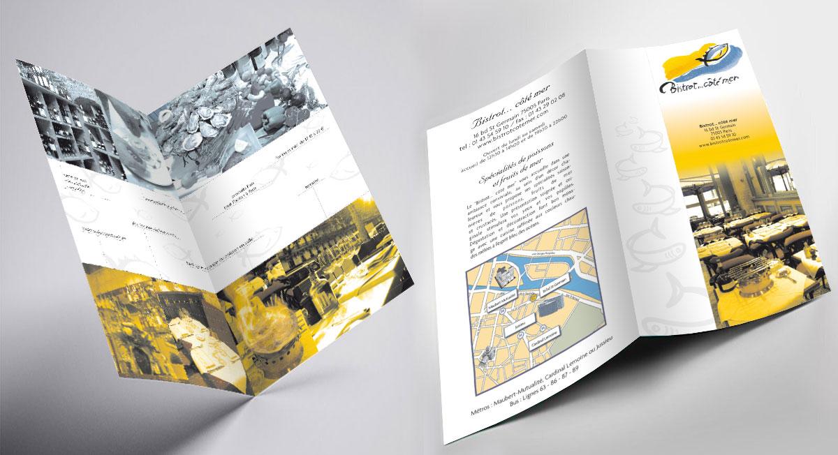 Infographiste indépendant, création et mise en page de plaquettes commerciales dépliant 2 volets, restaurant de poissons