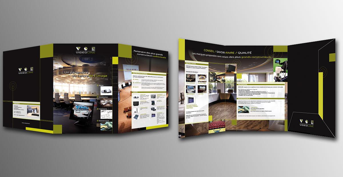Infographiste indépendant, création et mise en page de plaquettes commerciales 3 volets pour une société spécialiste en vidéo