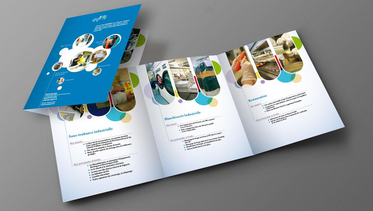 Infographiste indépendant, création et mise en page de plaquettes commerciales dépliant 3 volets association