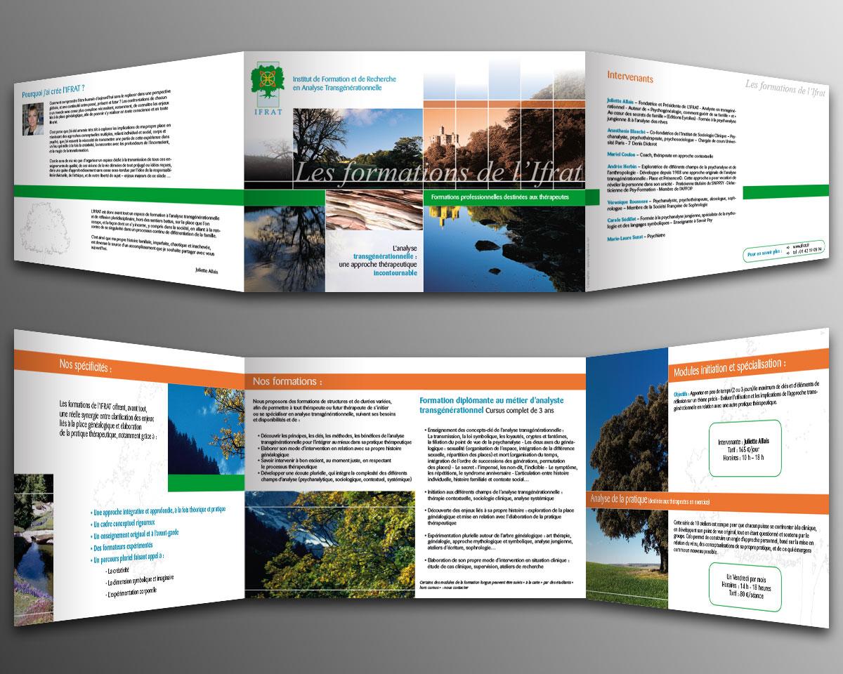 Infographiste indépendant, création et mise en page de plaquettes commerciales dépliant 3 volets ateliers