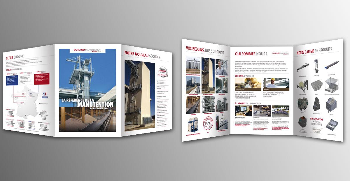 Infographiste indépendant, création et mise en page de plaquettes commerciales dépliant 3 volets manutention
