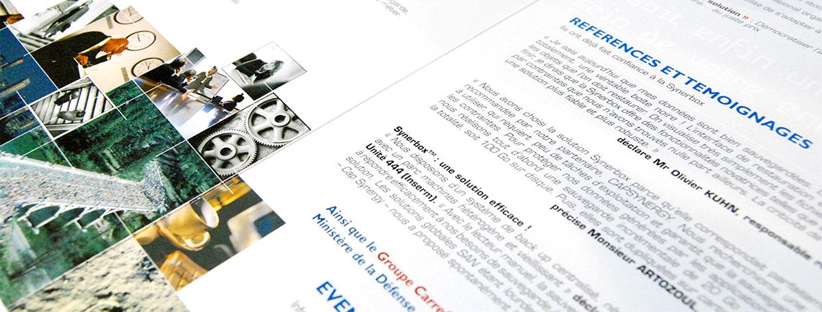 Infographiste indépendant, création et mise en page de plaquettes commerciales dépliant 3 volets, processeur