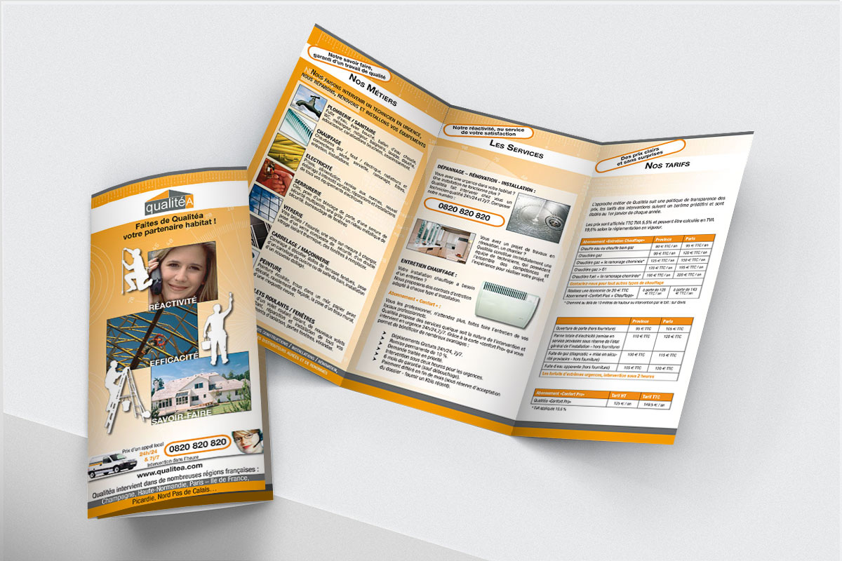 Infographiste indépendant, création et mise en page de plaquettes commerciales dépliant 3 volets travaux en bâtiment