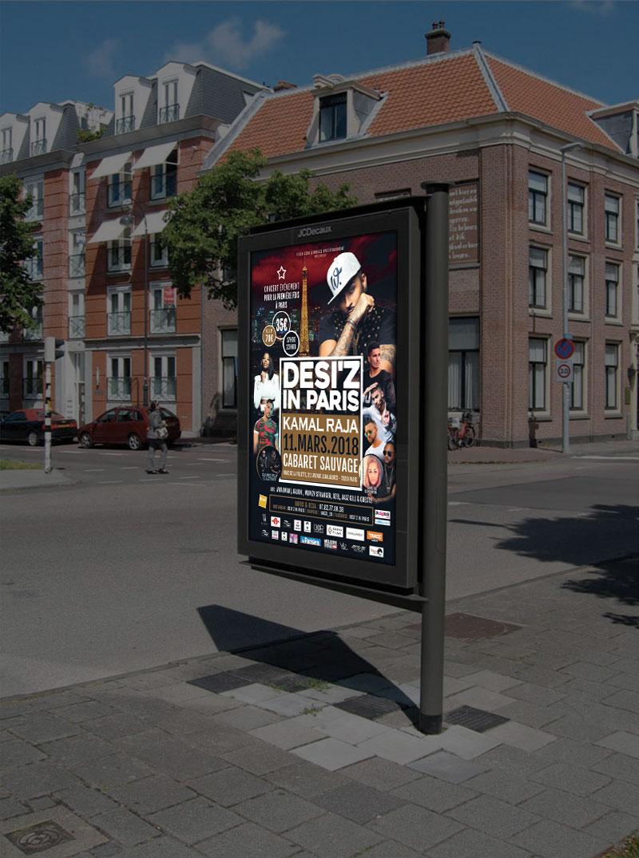 Infographiste Indépendant, création et mise en page de publicités pour un festival de musique