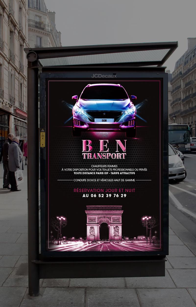 Infographiste Indépendant, création et mise en page de publicités location de voiture avec chauffeur