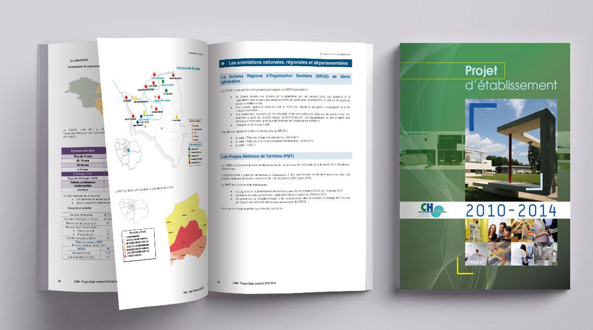 Infographiste indépendant, création et mise en page de rapports d'activité, centre hospitalier