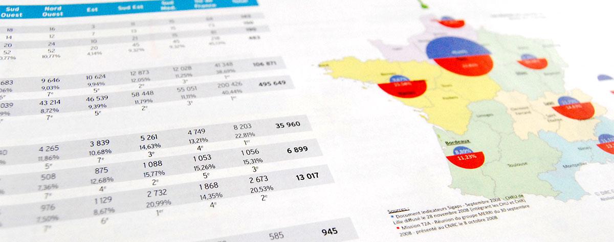 Infographiste indépendant, création et mise en page de rapports d'activité, réseau hospitalier