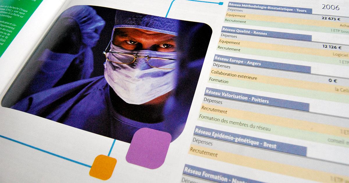 Infographiste indépendant, création et mise en page de rapports d'activité, réseau santé