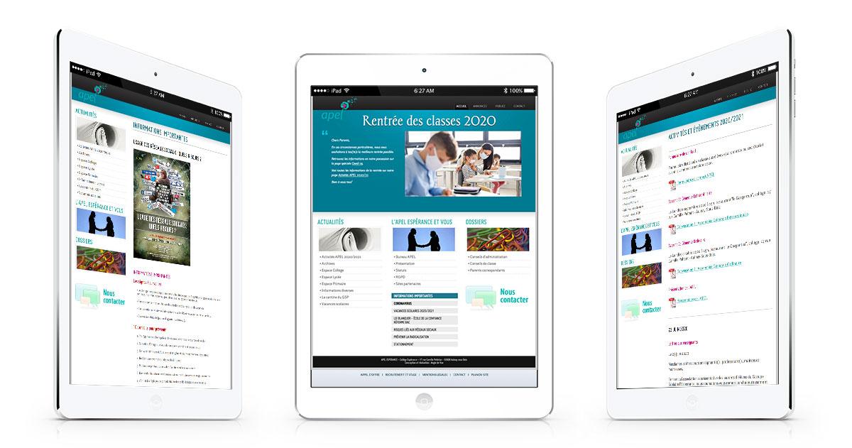 Infographiste indépendant, création de site internet association de parents d'élèves